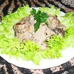 Фрикасе из печени с грибами