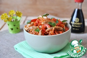 Рецепт: Салат из куриного филе с морковью по-корейски