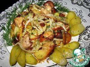 Рецепт: Ароматный жареный картофель с курицей
