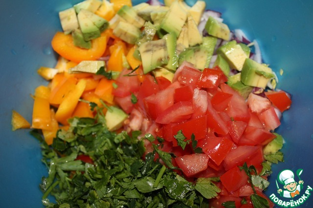 Салат с рисом красной фасолью