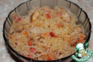 Рецепт: Фунчоза с курицей и овощами
