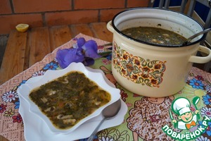 Щавелевый суп с шампиньонами и рисом