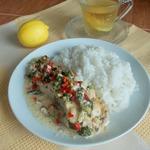 Рыба под сливочным соусом с овощами