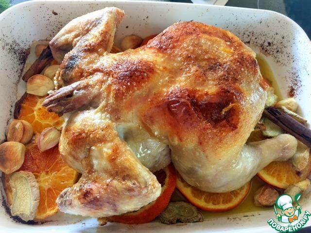 Курица кусочками с апельсинами в духовке