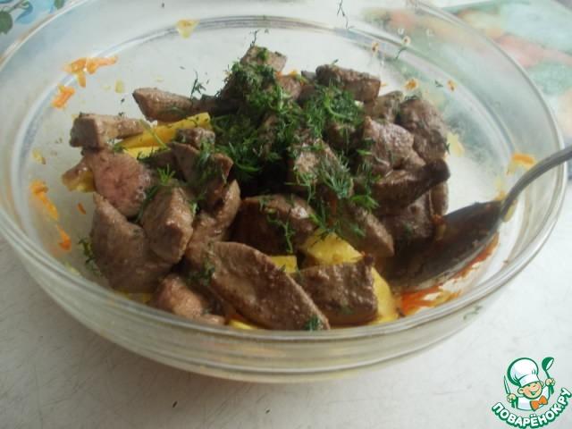 Рецепт теплый салат печени