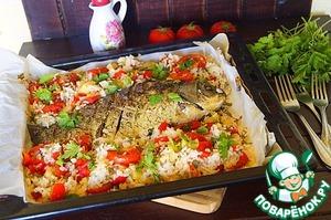 Рыба, запеченная с рисом и овощами