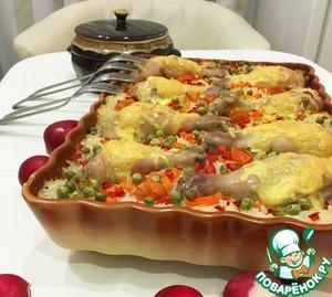 рис с куриными ножками и овощами в духовке