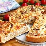Открытый творожно-сырный пирог с шампиньонами