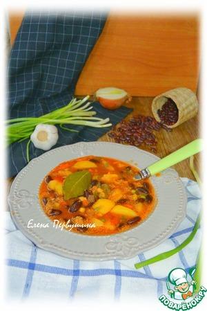 Рецепт: Острый томатный суп с фасолью