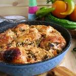 Ленивая сковорода с рисом и курицей