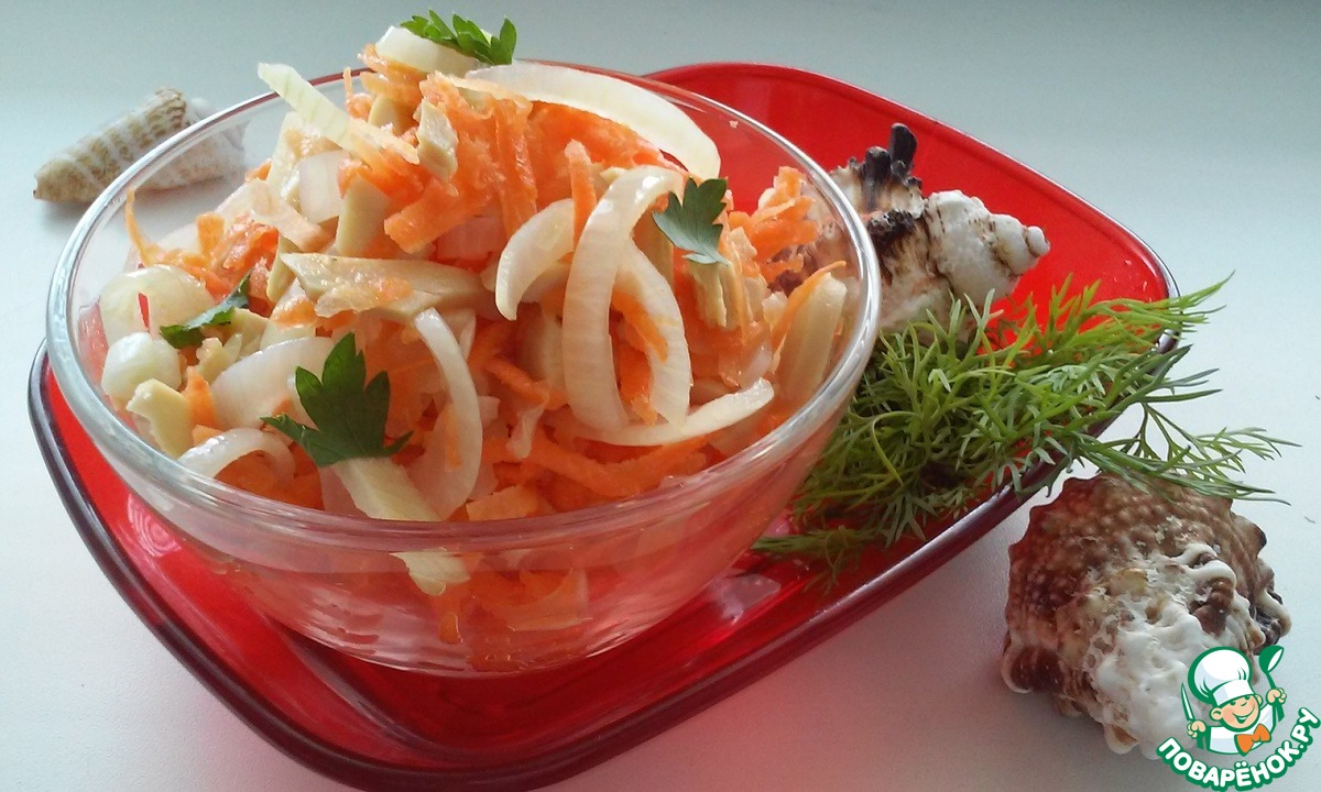 Салат с кальмаров с маринованным луком рецепт с