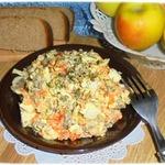 Салат из риса и печени
