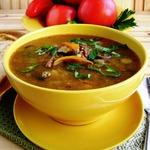 Жареный суп с овощами и чечевицей