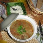 Грибной суп со свежеиспеченным хлебом