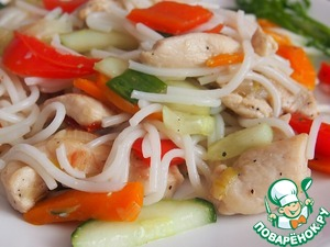 фунчоза с овощами и куриным филе рецепт