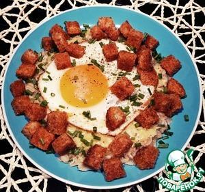 Каша овсяная с сыром, яйцом, гренками
