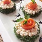 Закусочные пирожные со сливочно-рыбным кремом