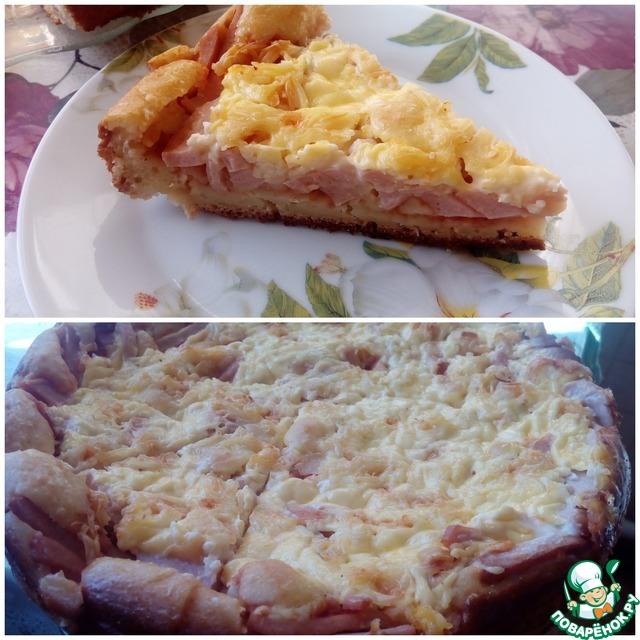 Пицца минутка на кефире на сковороде