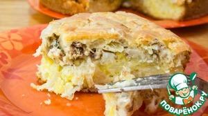 Рецепт: Заливной пирог с картофелем и сайрой