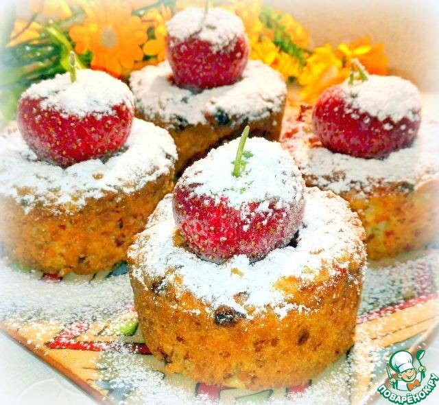 Рецепт кекса с творогом и клубникой