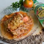 Овощи с минтаем в сметанно-соевом соусе