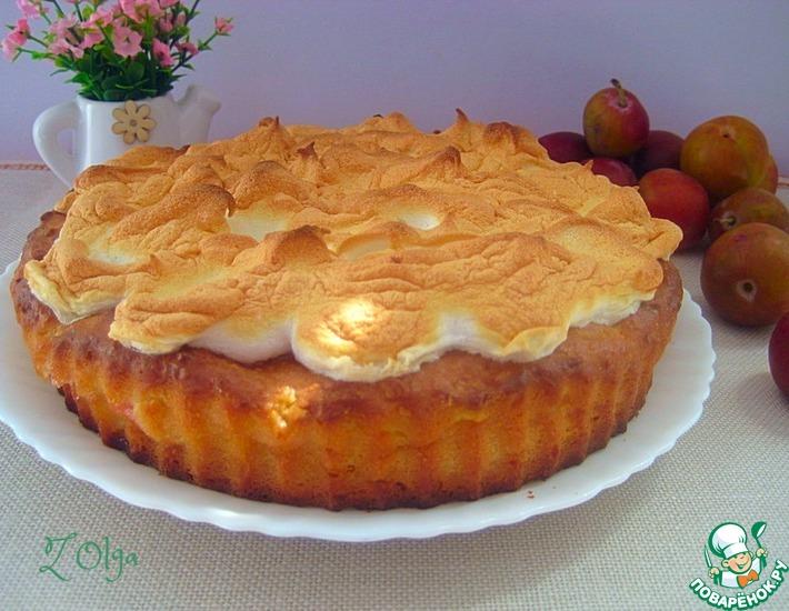 Рецепт: Творожный пирог со сливами