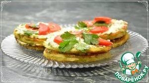 Рецепт: Кабачковые оладьи в виде кабачковых тортиков