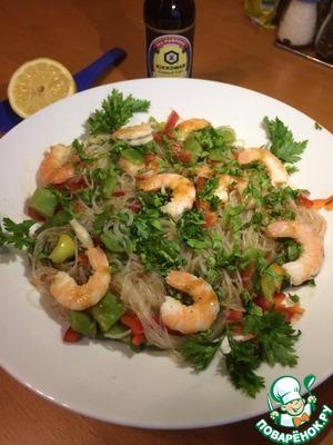 Рецепт: Фунчоза с креветками и фасолью