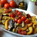 Запеченные овощи с рыбой