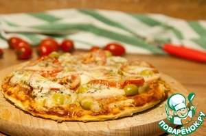 Рецепт: Пицца с моцареллой