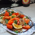 Теплый салат из языка и овощей-гриль
