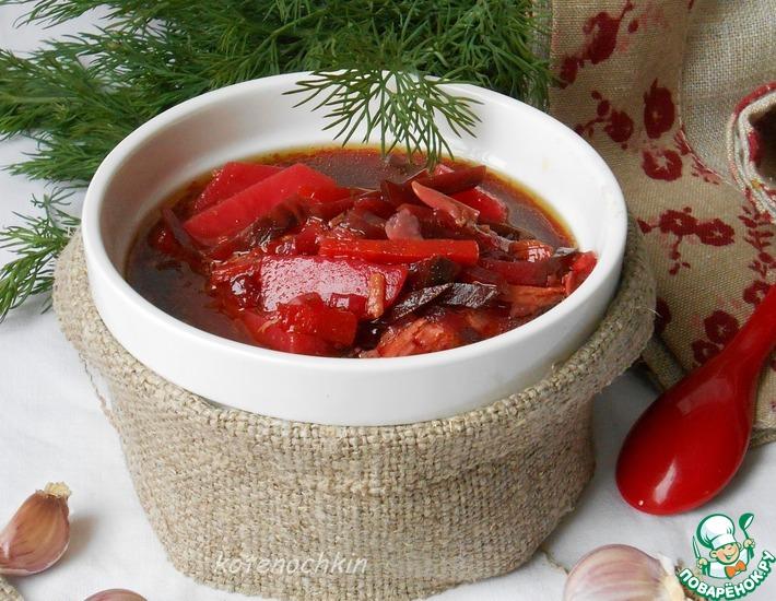 Рецепт: Суп со свеклой и солеными огурцами