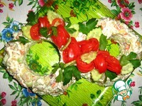 Салат с копченой рыбой, картофелем, огурцами ингредиенты