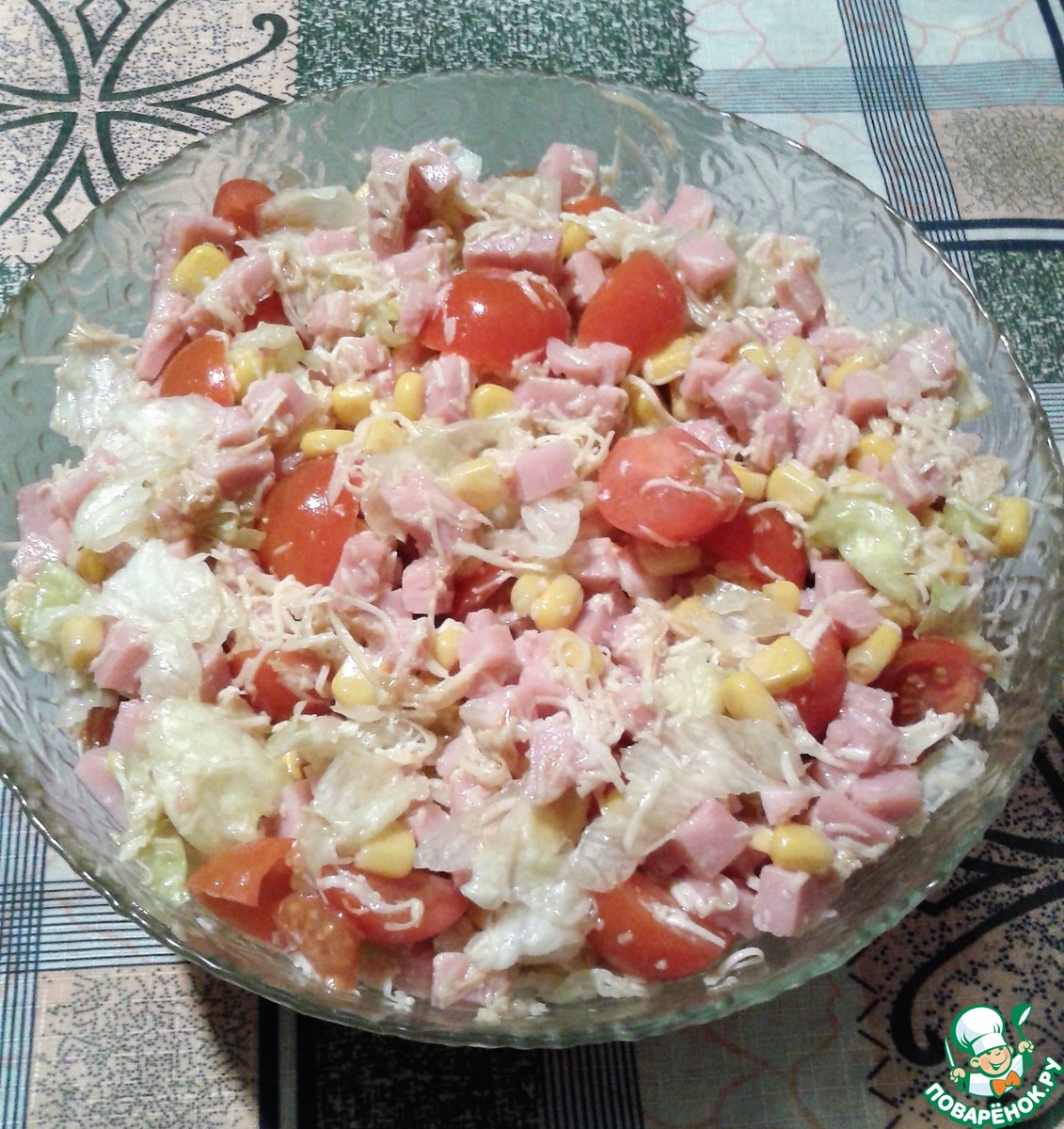 Сыр ветчина кукуруза салат