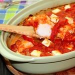 Треска в томатном соусе с брынзой