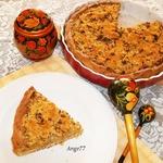 Открытый пирог с грибами и овощами