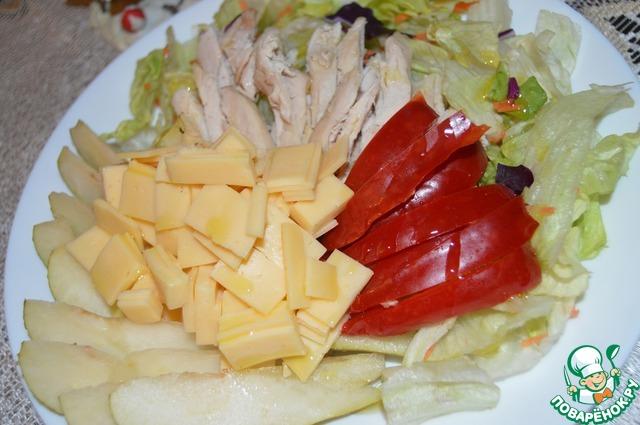 Салат яблоко перец курица