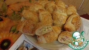 Рецепт: Рогалики с сыром и ветчиной