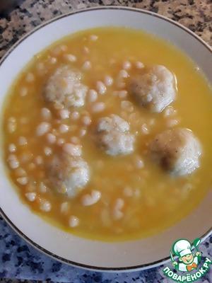 Рецепт: Суп фасолевый с луковыми клецками