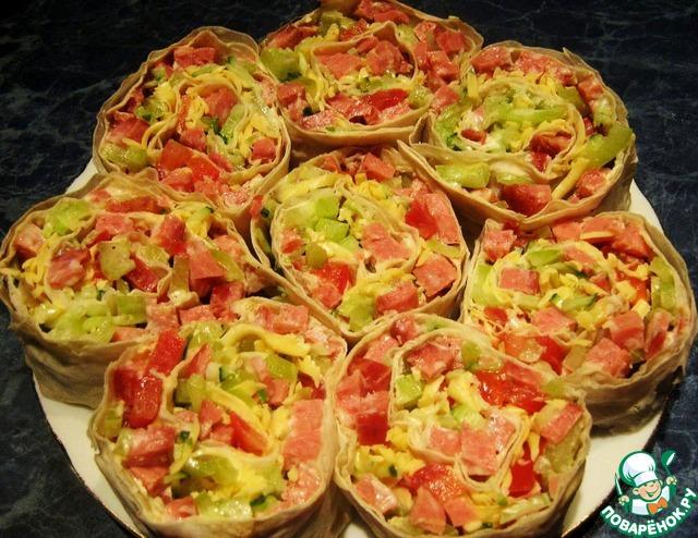 рецепт рулет из лаваша с салатом фото