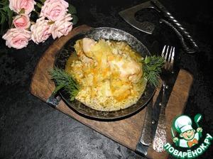 Рецепт: Курица с капустой и рисом