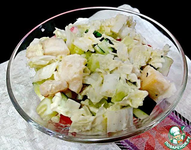 Салат из курицы и ананасов и пекинской капусты рецепт с