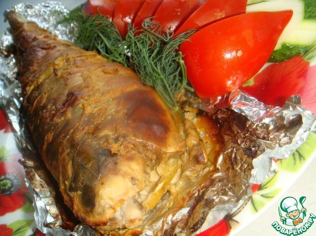 Скумбрия запеченная с горчицей в фольге в духовке