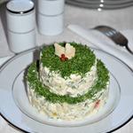 Рыбный салат с запеченным перцем