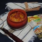 Пельмени в горшочках с овощным соусом