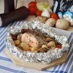 Лосось, запеченный с фасолью и овощами