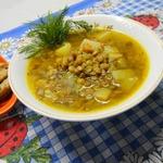Постный суп с чечевицей в мультиварке
