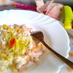 Фасоль в сливочном соусе с беконом