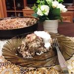 Запечённый рис с фаршем и капустой