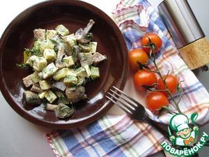 Салат из сельди, грибов и сыра